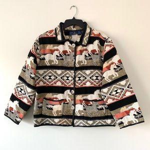 Jane Ashley Chic Cotton Tapestry Wild Horse Design